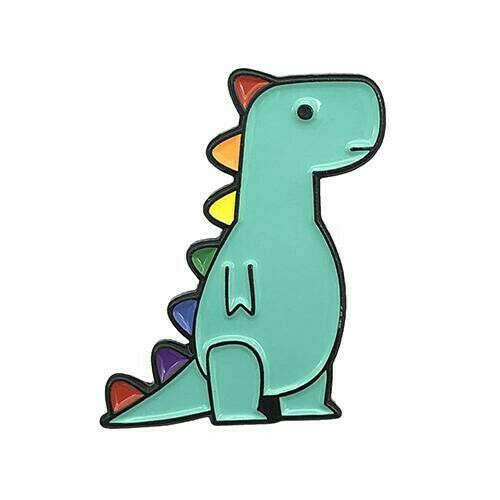 rainbow t-rex enamel pin