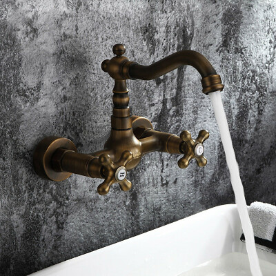 Antique inspired Bathroom Sink Faucet - Wall Mount (Antique Brass Finish) At FaucetsDeal.com