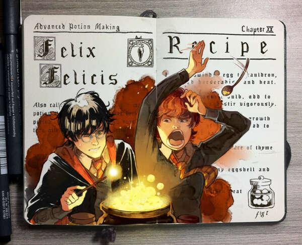 Книга зелий (блокнот с рецептами хогвартских вкусняшек)