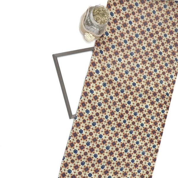 Cream Gajji Silk Ajrak Print Fabric