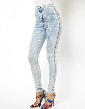 Джинсовые выбеленные брюки-дудочки с завышенной талией ASOS