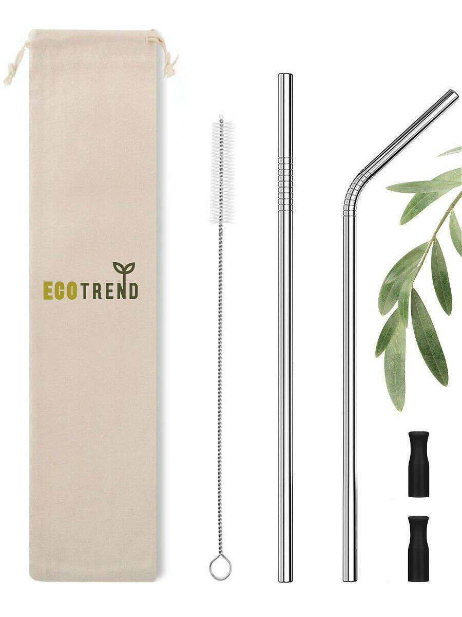 Многоразовые металлические трубочки для коктейлей, напитков с наконечником и чехлом для хранения,2шт, ECOTREND