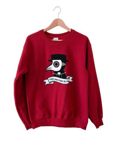 Plague Doctor Sweatshirt - Deep Red Sweater - Size 2X
