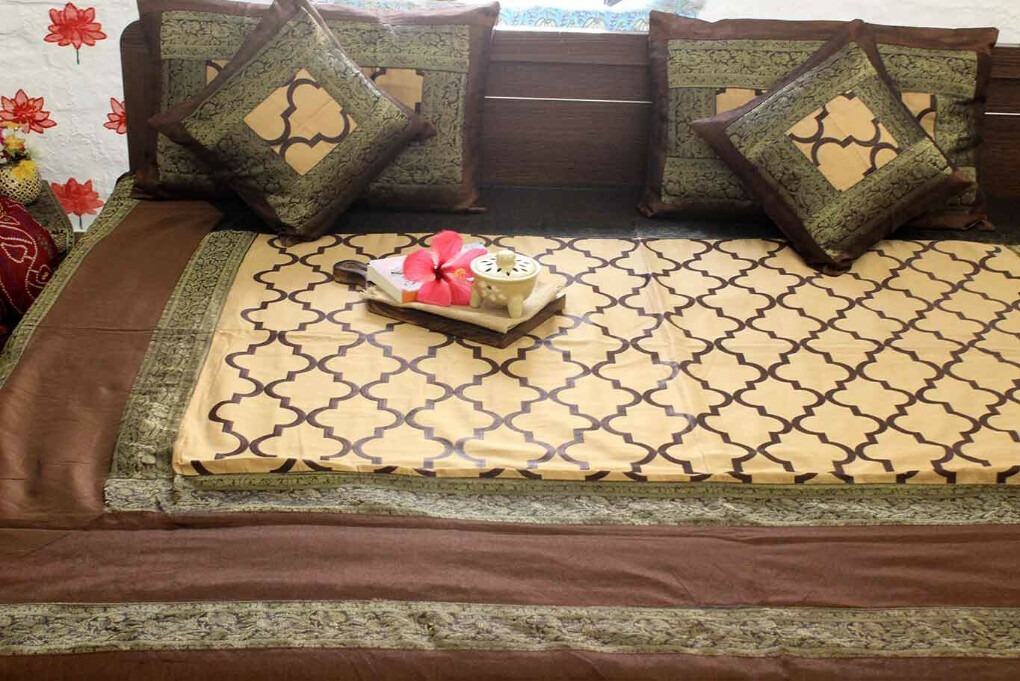 Brown Royal Journey Silk Bedcover Set