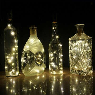 Аккумулятор с питанием 10 светодиодов Пробка в форме светодиодного ночного звездного света Винная бутылка Праздничная лампа для Xmas Party