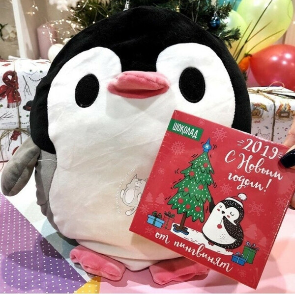 Плед-муфта-подушка Пингвинчик