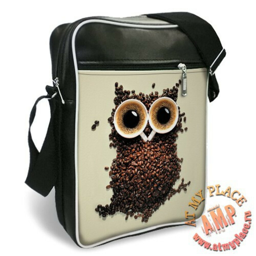 """Виниловая сумка """"Кофейная сова"""" (SO0095)"""
