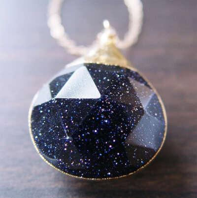 Midnight Goldstone Star Necklace