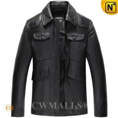 CWMALLS® Leather Bomber Jacket for Men CW807008