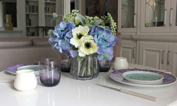 Голубая гортензия, анемоны, статица | Букет #76 | Композиция букет из искусственной гортензии| Ahflowers.ru