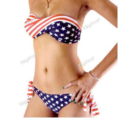 Geometric Striped Spandex  Strapless Sexy Bikini for Women