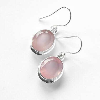 Серьги 'Aqua Rose 2' серебряные с розовым кварцем