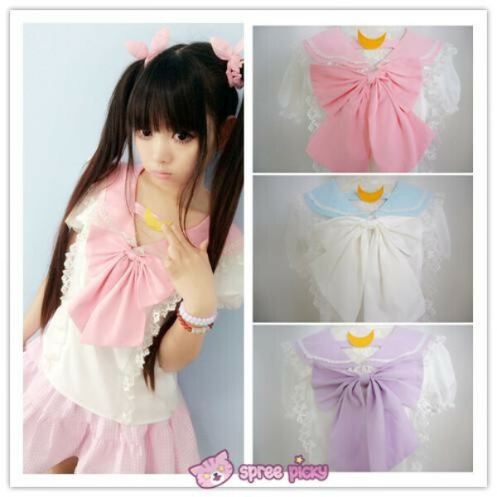 Pink/Blue/Purple Sailor Moon Bubble Short Sleeve Bow Lace Shirt Top SP140946