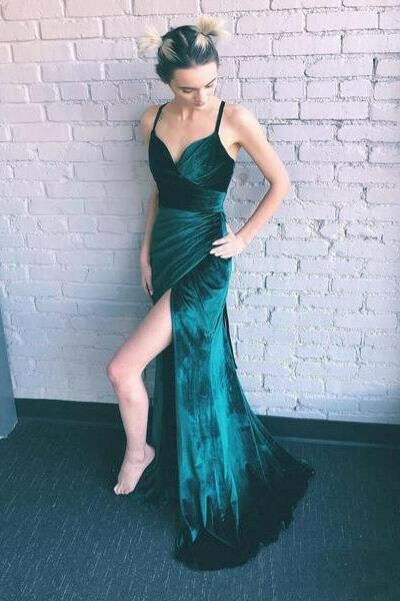 Sheath Emerald Green Spaghetti Straps Long Simple Prom Dresses with Slit PFP0604