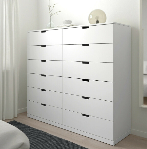 НОРДЛИ Комод с 12 ящиками, белый, 160x145 см