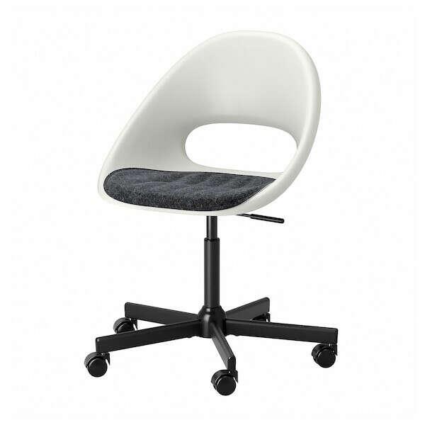LOBERGET ЛОБЕРГЕТ / MALSKÄR МАЛЬСКЭР Рабочее кресло c подушкой - белый черный/темно-серый - IKEA