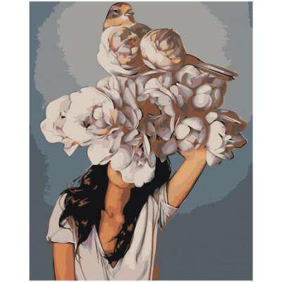 Девушка под пышным цветком Раскраска картина по номерам на холсте Z-AB229 купить в Москве и СПб