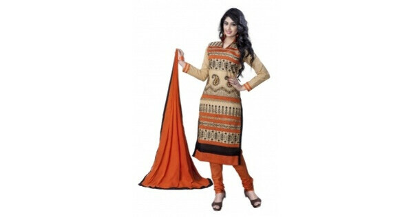 Beige and Orange Cotton Embroidered Dress Material