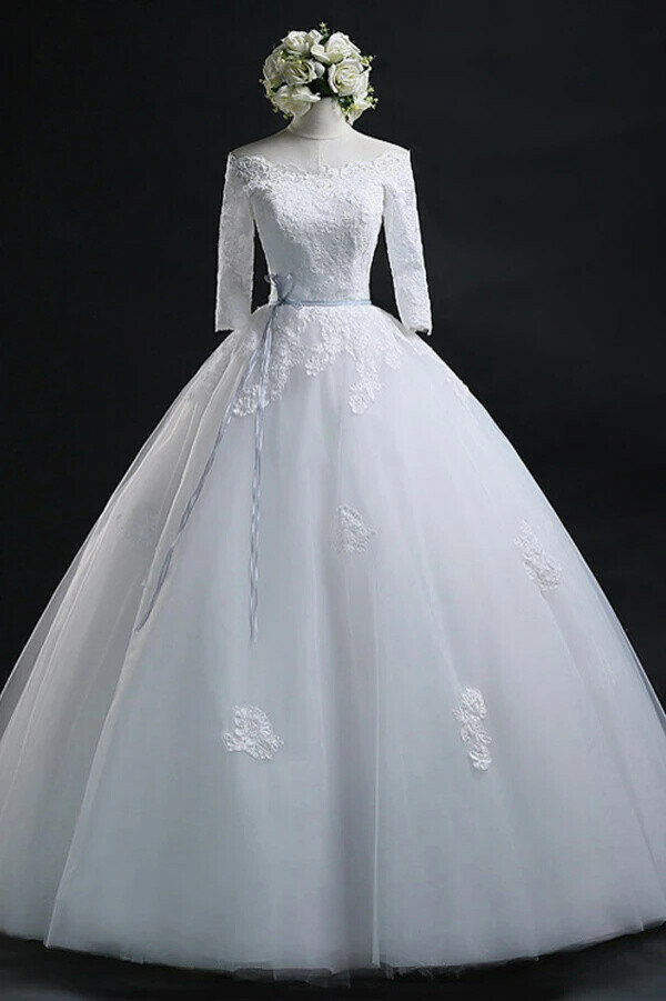 Anneprom Scoop Ball Gown Bateau Long Tulle Wedding Dress With Lace APW0020