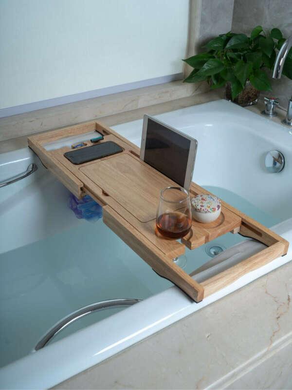 Столик-полка для ванны из массива дерева Bamboowood