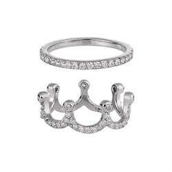 """Кольцо """"Корона"""" 2-х составное, серебряное с цирконами"""
