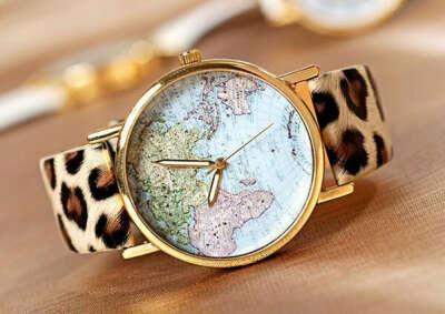 Часы с ремешком леопард
