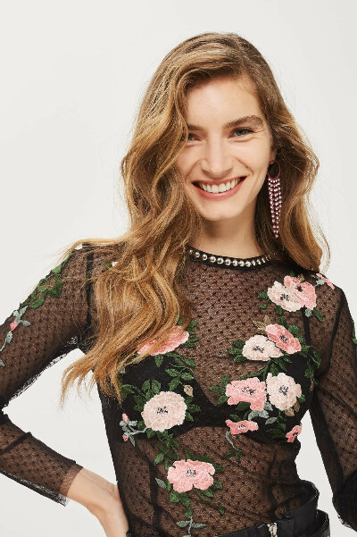 TALL Floral Embroidered Mesh Top