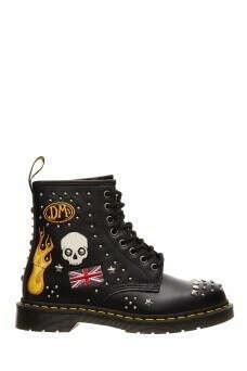 Кожаные ботинки с заклепками и вышивкой DR.Martens