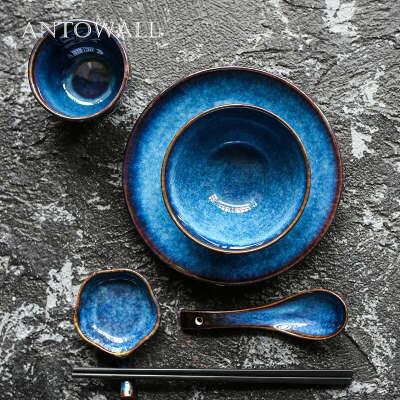495.29руб. 20% СКИДКА|ANTOWALL 5 шт./компл., европейский стиль, синяя керамическая посуда, тарелка, миска для риса, чашка для соуса, блюдо, 1 человек, набор для ужина|Столовые сервизы|   | АлиЭкспресс