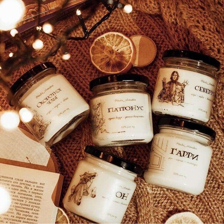набор из 3х свечей по Гарри Поттеру от @lavka_olivandera