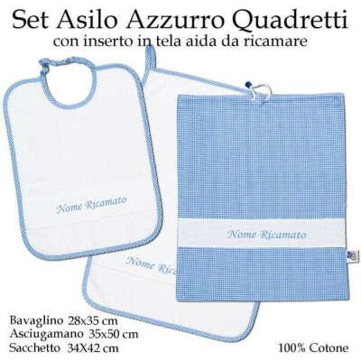 Set Asilo Nido Azzurro Quadretti – 3 pezzi
