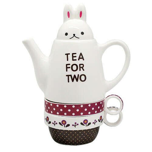 """Чайник с чашками """"Кролик"""" (розовый)"""