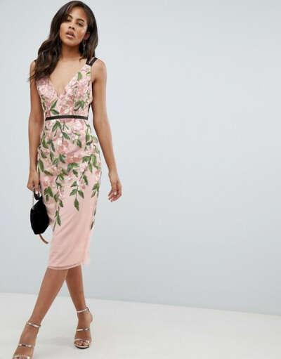 Платье-футляр миди с цветочной вышивкой ASOS DESIGN Tall
