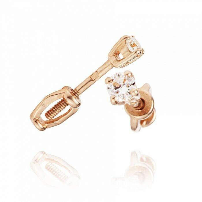 Золотые  Серьги-пуссеты с фианитами тов № 585-88748