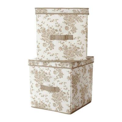 ГАРНИТУР Коробка с крышкой - бежевый/белый цветок  - IKEA