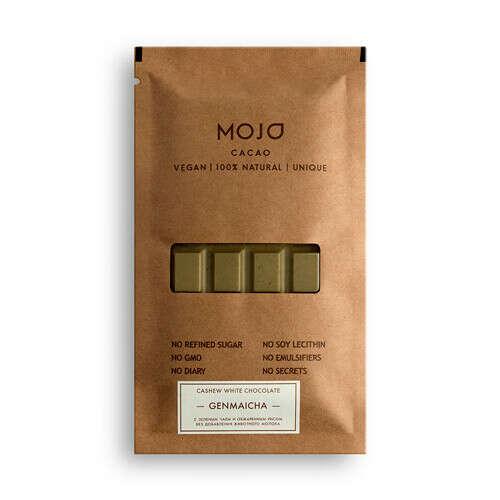 """Шоколад Mojo Cacao """"С зеленым чаем и обжаренным рисом"""""""