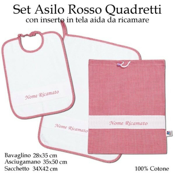 Set Asilo Nido Rosso Quadretti – 3 pezzi