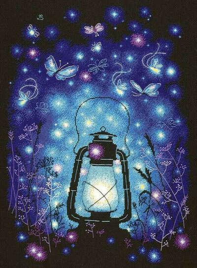 """Вышивка с лампой - """"Наш волшебный вечер"""""""