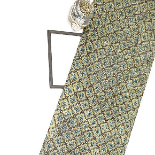 Green Gajji Silk Ajrak Print Fabric