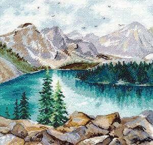 Набор вышивки ОВЕН 1256 - Озеро Морейн. Купить набор для вышивания полной зашивкой крестом ОВЕН 1256 в интернет-магазине Фея.