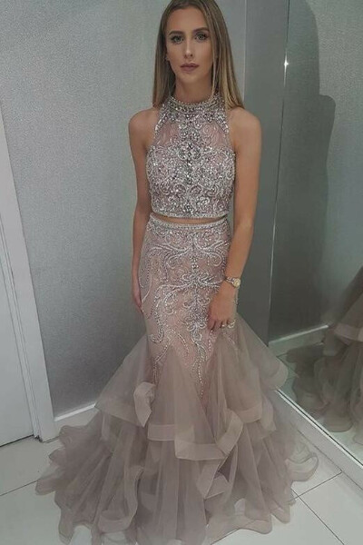 Stunning High Neck Blush Two Piece Prom Dress with Beading PFP0704