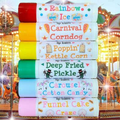 Бальзамы для губ со вкусами карнавала.