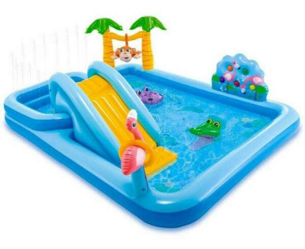 Надувной бассейн с горкой