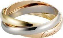 Кольцо Trinity,  белое золото 18 карат, розовое золото 18 карат, желтое золото 18 карат.