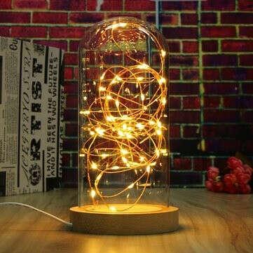 Creative Wood Glass LED Night Light Настольная лампа Украшение Подарки 220V Round