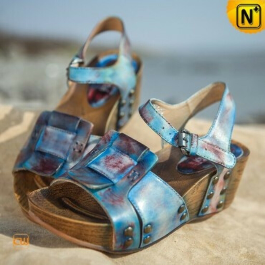 Ankle Strap Leather Wedges Sandals CW305235