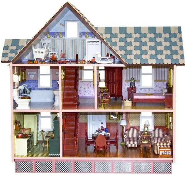 Кукольный домик с мини-мебелью