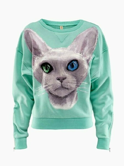 Мятный свитер с кошкой