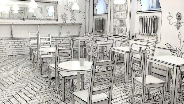 ЧБ кафе в Питере