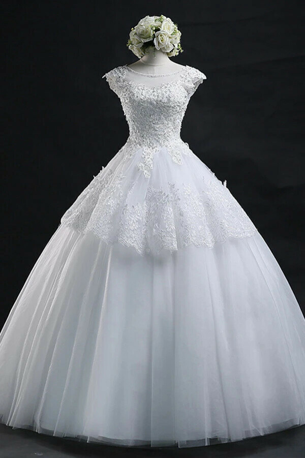 Anneprom Scoop Long Lace-Up Tulle Wedding Dress Ball Gown With Appliques APW0019